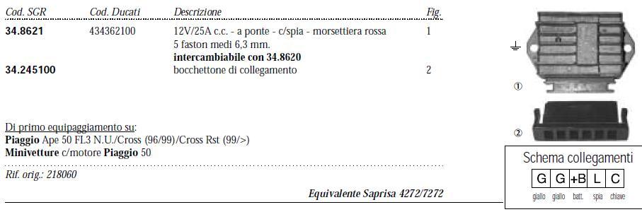 Schema Elettrico Regolatore Di Tensione Ape 50 : Impianto elettrico vespa et in corrente continua